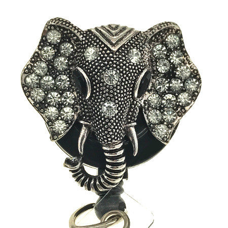 Silver Elephant Head ID Badge Reel - SassyBadge