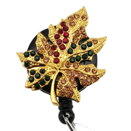 Fall Leaf ID Badge Reel