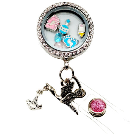 Mother Baby Floating Charm ID Badge Reel - SassyBadge
