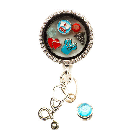 Nurses Rock Floating Charm ID Badge Reel - SassyBadge
