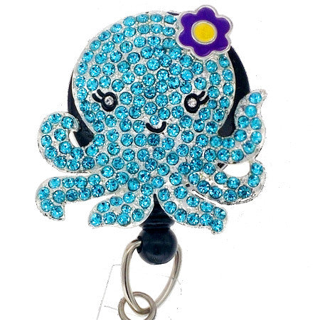 Blue Lady Octopus ID Badge Reel