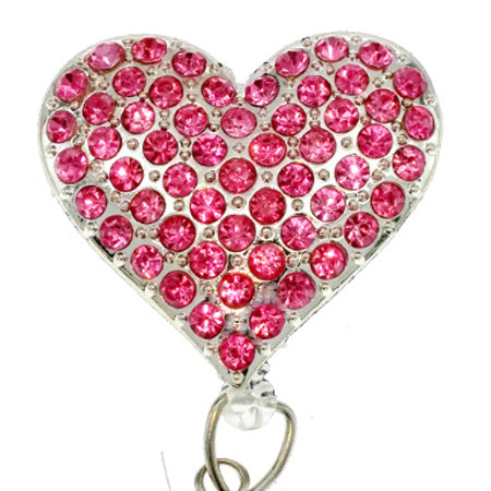 Pink Rhinestone Heart ID Badge Reel - SassyBadge