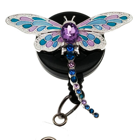 Purple Dragonfly ID Badge Reel - SassyBadge