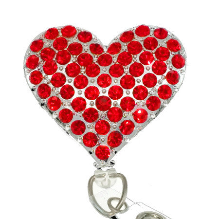 Red Rhinestone Heart ID Badge Reel