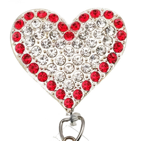 Red and White Rhinestone Heart ID Badge Reel - SassyBadge