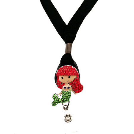Red Head Mermaid Lanyard - SassyBadge