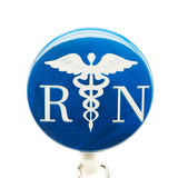 Medical Symbol Blue RN ID Badge Reel - SassyBadge