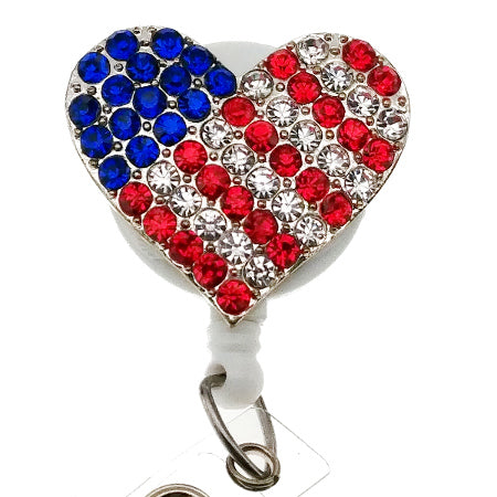 Star Spangled Heart ID Badge Reel - SassyBadge