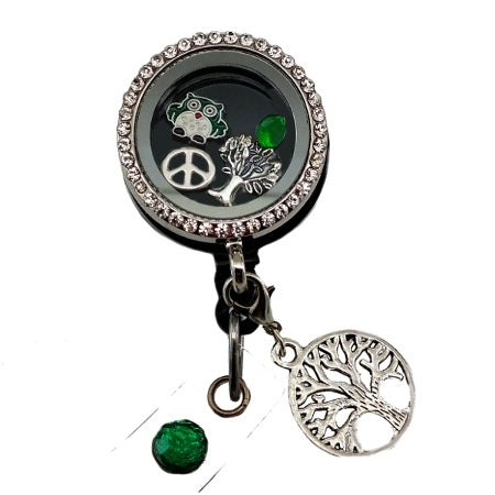 Tree of Life Floating Charm ID Badge Reel
