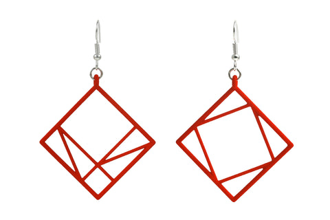 Pythagorean Earring, Red