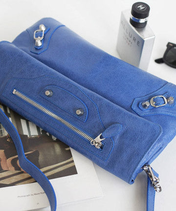 PREMIUM CALFSKIN NEW GIANT ENVELOPE CLUTCH [ SILVER LAVENDER BLUE] 뉴자이언트 엔벨롭 클러치  [실버 라벤더블루]