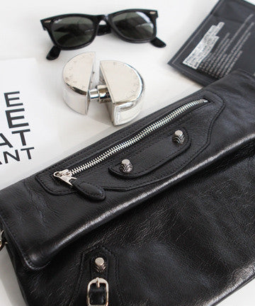 PREMIUM CALFSKIN NEW GIANT ENVELOPE CLUTCH [ SILVER BLACK] 뉴자이언트 엔벨롭 클러치  [실버 블랙]