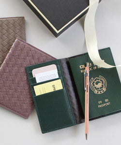 PREMIUM LAMBSKIN WEAVING PASSPORT COVER & CARD SLOT 위빙 여권 커버 & 카드  [ 12COLOR ]