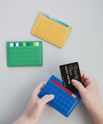 PREMIUM LAMSKIN Weaving Mini Card Slot Case 위빙 미니 카드 슬롯 케이스 [18COLOR]