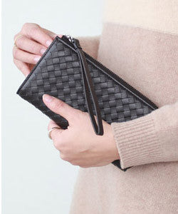 PREMIUM LAMBSKIN handle strap Weaving Wallet 위빙 장지갑 [7COLOR]