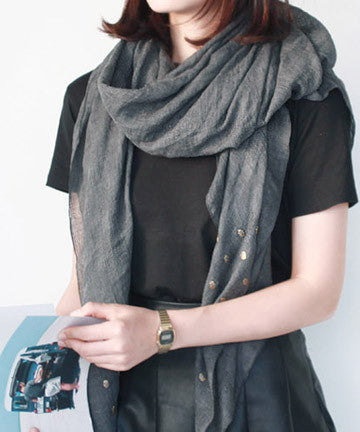 SCARF1302 Mini Skull Patch Scarf 미니스컬 패치 스카프  [2COLOR]