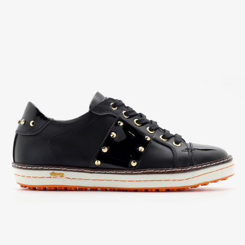 Womens Spikeless Golf Shoes W18101 Glossy Black and Matt Black