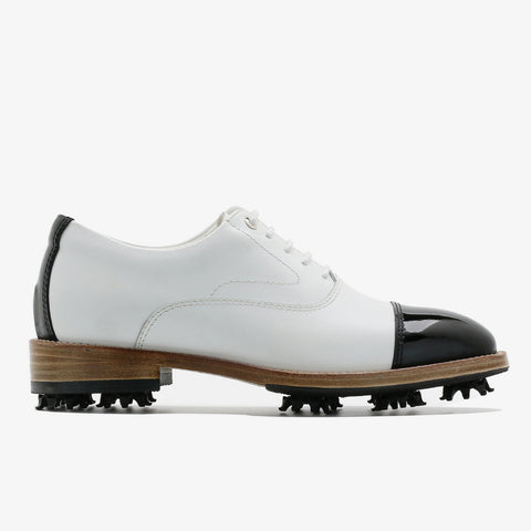 Classic Womens Golf Shoes 173301 Glossy Black and Matt white