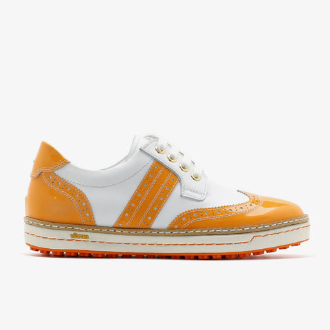 Womens Spikeless Golf Shoes W18102 Glossy orange and White