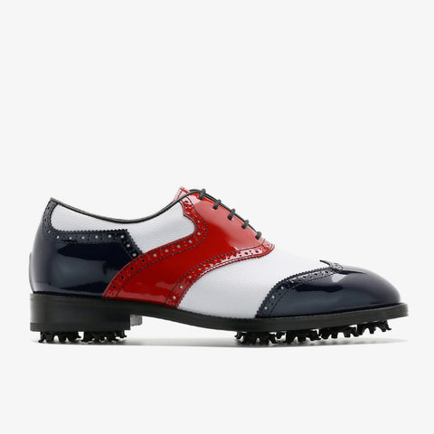 Classic Mens Golf Shoes 178803 Glossy Navy Red and White