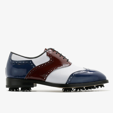 Classic Mens Golf Shoes 178803 Matt Blue Wine and White