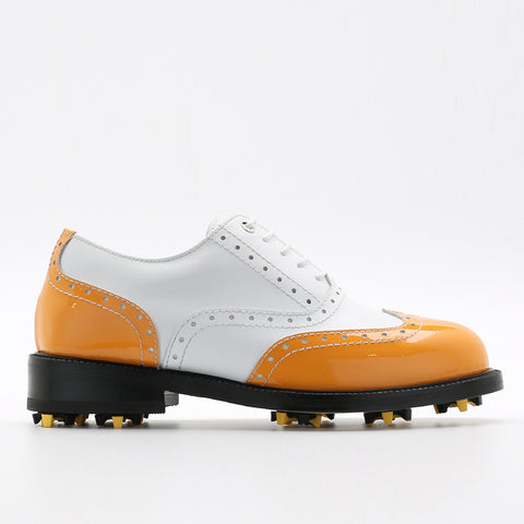 Classic Womens Golf Shoes 172201 Glossy Orange and Matt white