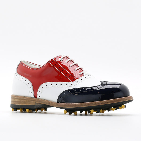 Classic Womens Golf Shoes 172201 Glossy Red & Navy and Matt white
