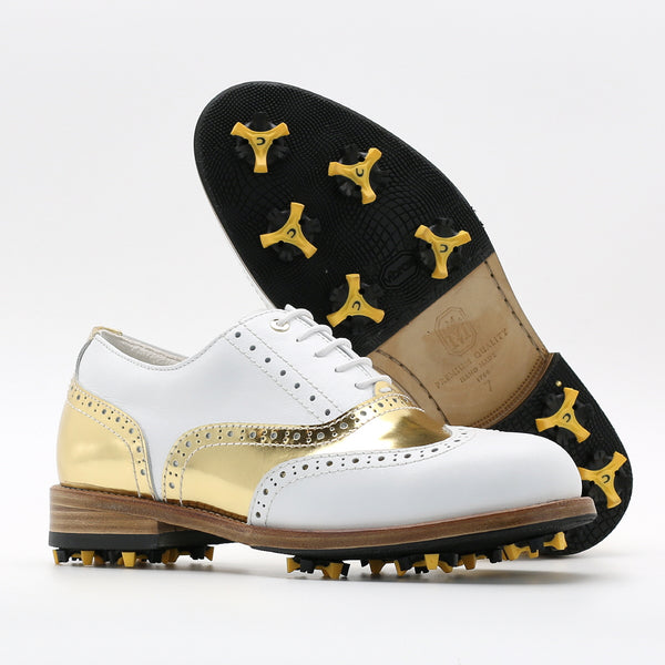 Classic Womens Golf Shoes 172201 Glossy gold and Matt white