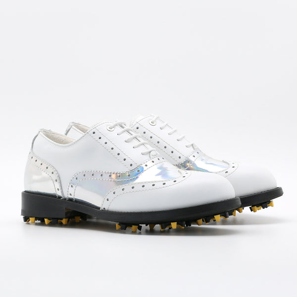 Classic Womens Golf Shoes 172201 Glossy Hologram silver and Matt white
