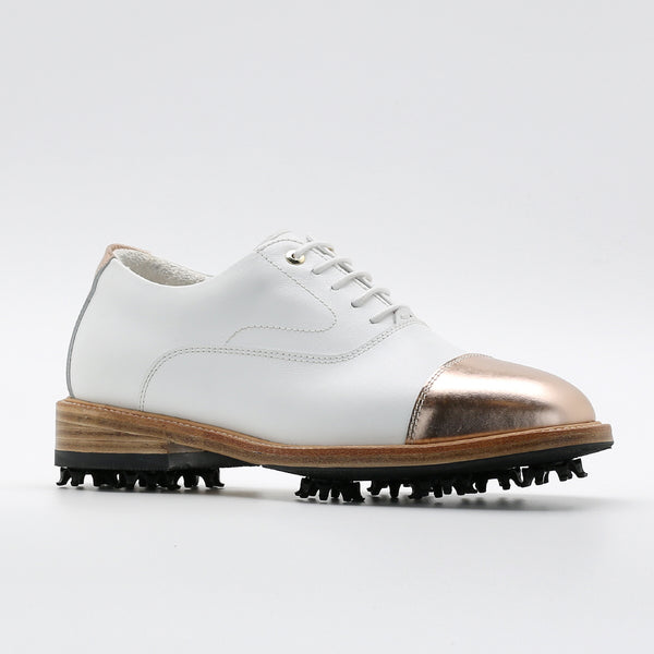 Classic Womens Golf Shoes 173301 Glossy Rosegold and Matt white