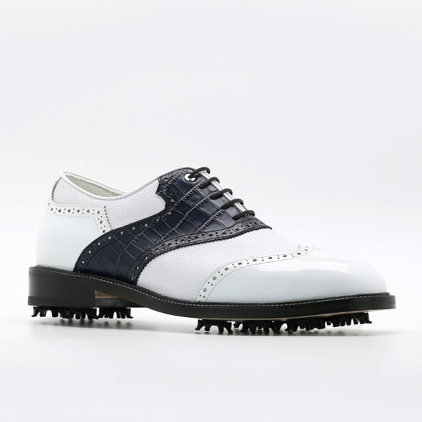 Classic Mens Golf Shoes 178803 Glossy White and Crocodile pattern Navy