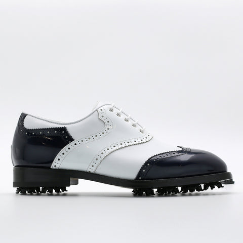 Classic Mens Golf Shoes 178803 Glossy White and Glossy Navy