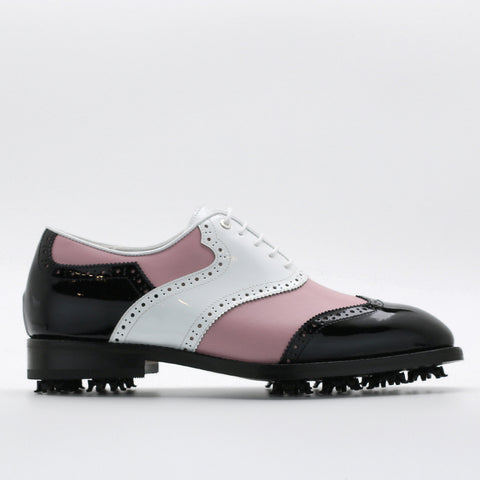 Classic Mens Golf Shoes 178803 Glossy Black and Glossy White and Matt Pink