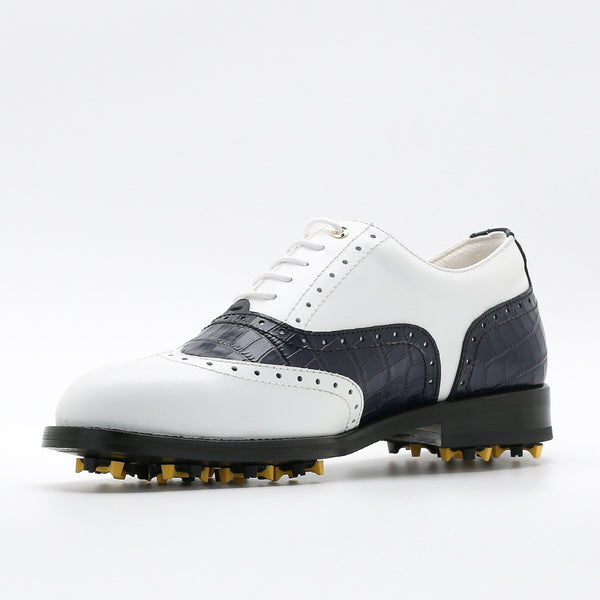 Classic Mens Golf Shoes 177701 Matt White and Crocodile pattern Navy