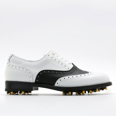 Classic Mens Golf Shoes 177701 pattern Black and Matt White