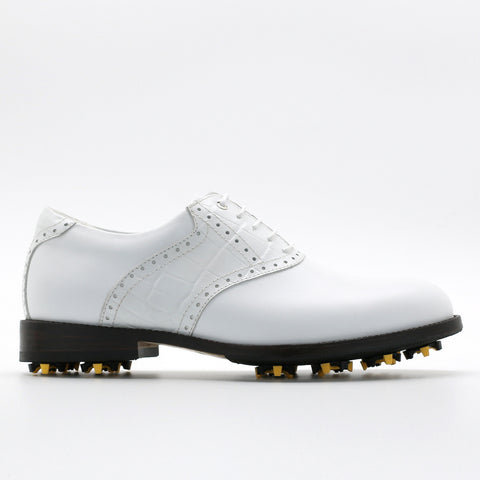 Classic Mens Golf Shoes 177703 Crocodile pattern White and Matt White