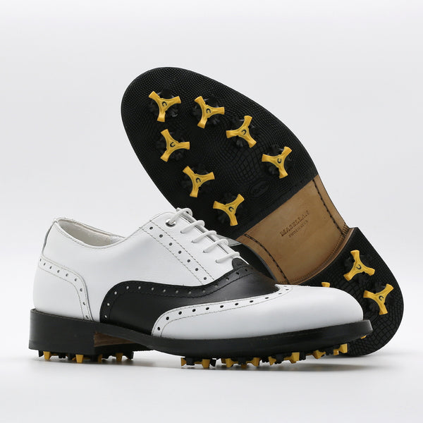 Classic Mens Golf Shoes 177701 Matt White and Matt Black