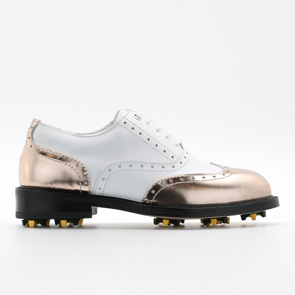Classic Womens Golf Shoes 172201 Glossy Rosegold and Matt white