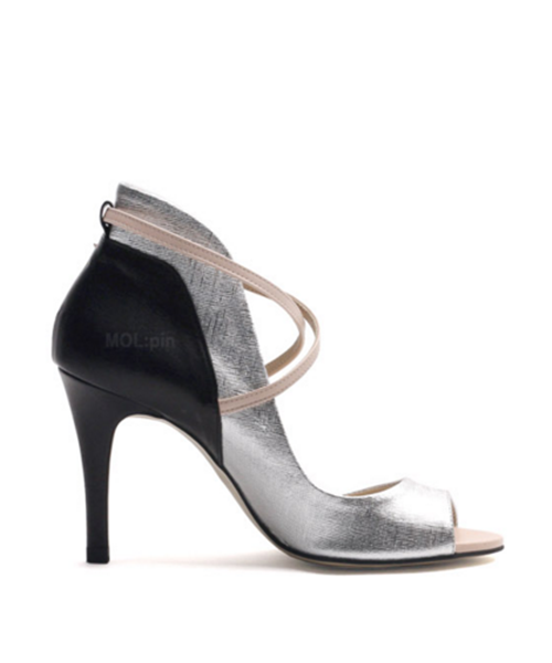 Silver foil leather combi X-band heeled toe opens P4115MP WOMEN'S LADIES PREMIUM HANDMADE SHOES