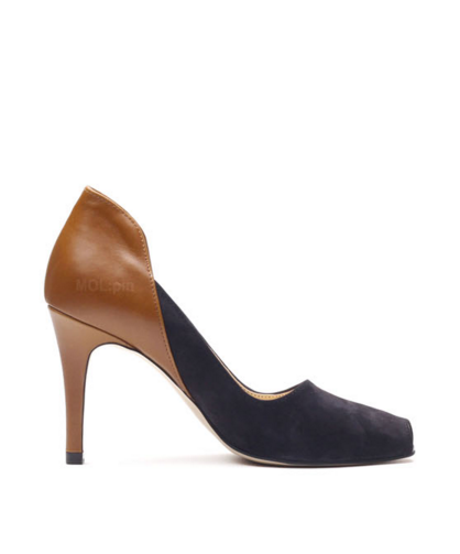 Silky nubuck and cow-hide combi heeled toe opens [NAVY] P3539MP WOMEN'S LADIES PREMIUM HANDMADE SHOES