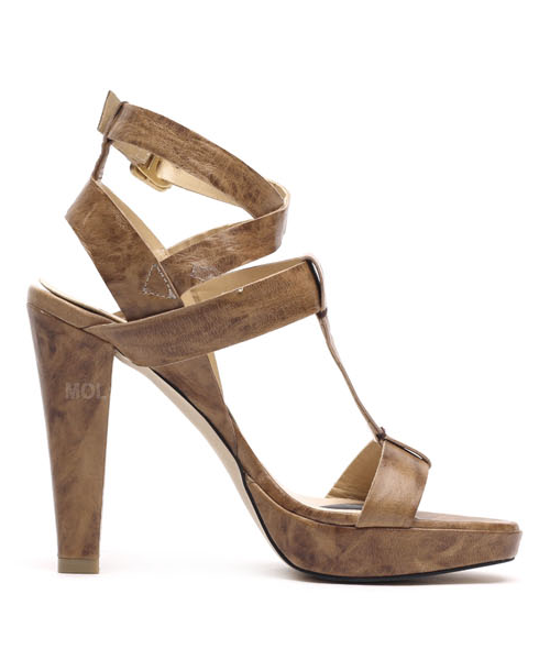 Natural leather ankle strap platform heel sandals P93010MP [BROWN] WOMEN'S LADIES PREMIUM HANDMADE SHOES.