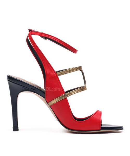 Soft sheep skin and gold foil ankle strap heels P3155MP [RED] WOMEN'S LADIES PREMIUM HANDMADE SHOES