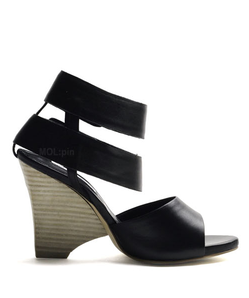 Wide velcro ankle strap wedge heeled sandals P4238MP [BLACK] WOMEN'S LADIES PREMIUM HANDMADE SHOES