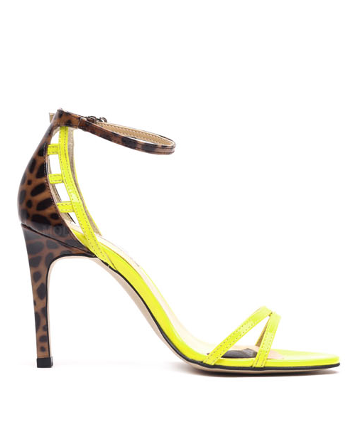 Leopard back point strap heel enamel sandals P3146MP [YELLOW]  WOMEN'S LADIES PREMIUM HANDMADE SHOES