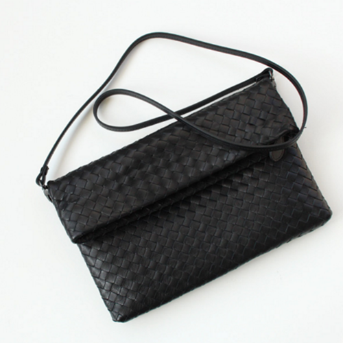 PREMIUM LAMBSKIN WEAVING FOLD-OVER CLUTCH BAG [6COLOR]