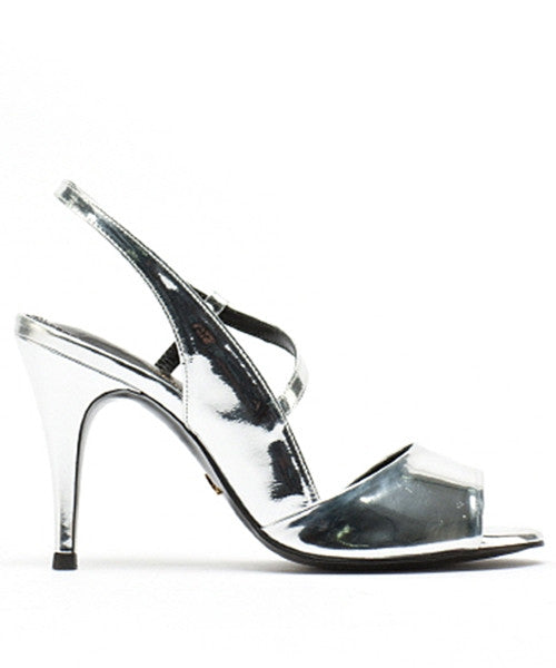 Mirrored Leather Peep-toe Sling Back Pumps LP5125PPSV [Silver] WOMEN'S LADIES PREMIUM HANDMADE SHOES