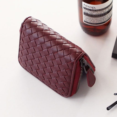 PREMIUM LAMBSKIN Weaving ZIP CARD wallet 위빙 ZIP 카드반지갑 [15COLOR]