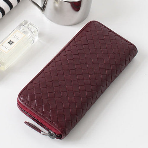 PREMIUM LAMBSKIN  WEAVING  ZIP SLIM WALLET 위빙 ZIP 슬림 월렛  [9COLOR]