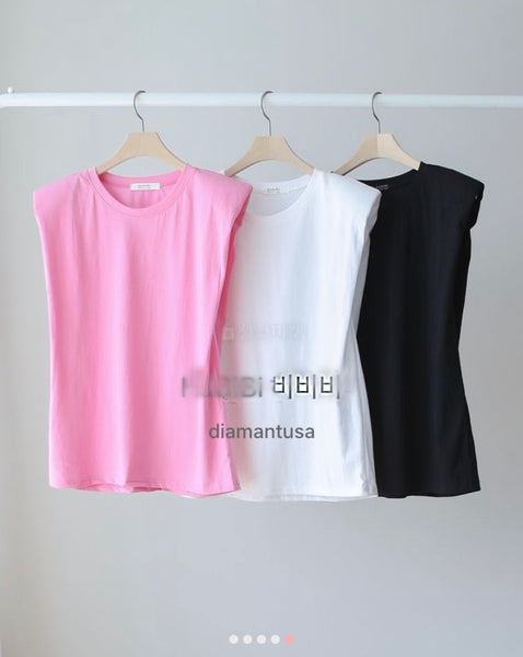 Shoulder Pad Sleeveless T-Shirts