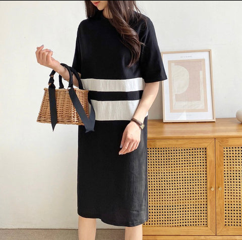 Double line cotton dress